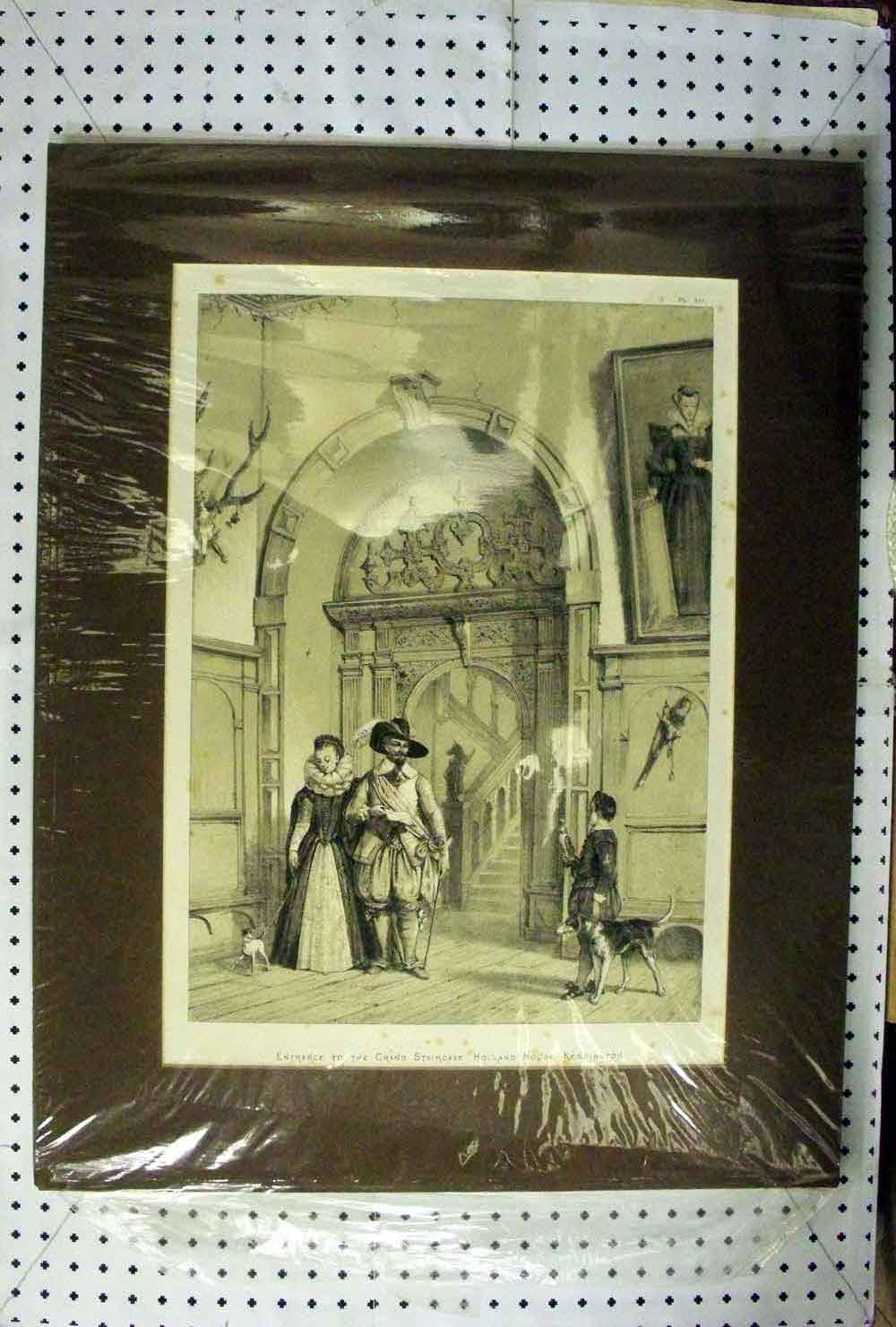 [Print C1890 Grand Staircase Holland House Kensington Dogs 604A214 Old Original]