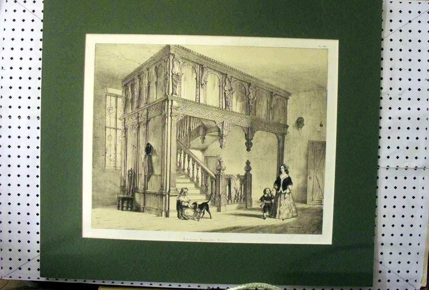 [Print C1890 View Staircase Wakehurst Sussex People Dog 403A216 Old Original]