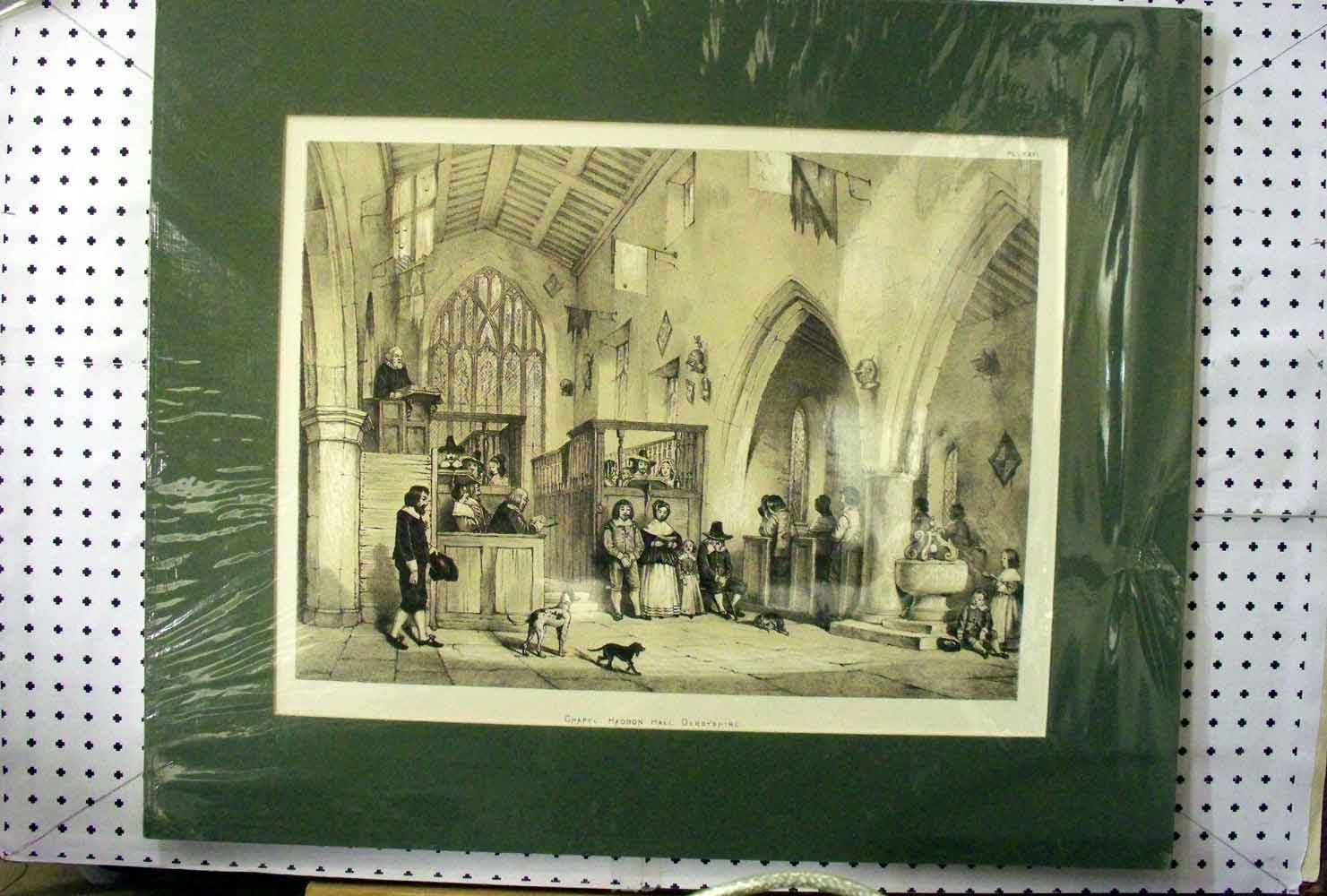 [Print 1870 Interior Chapel Haddon Hall Derbyshire People Dogs 307A217 Old Original]