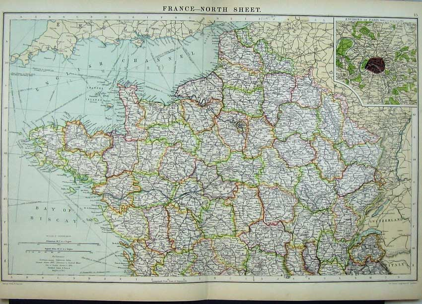 Print Map France Atlas Environs Paris Bay Biscay Channel Sea Map-Anti Old Original
