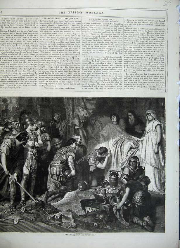 Print Roman Soldiers Conqueror Man Bed Injured War 513C217 Old Original