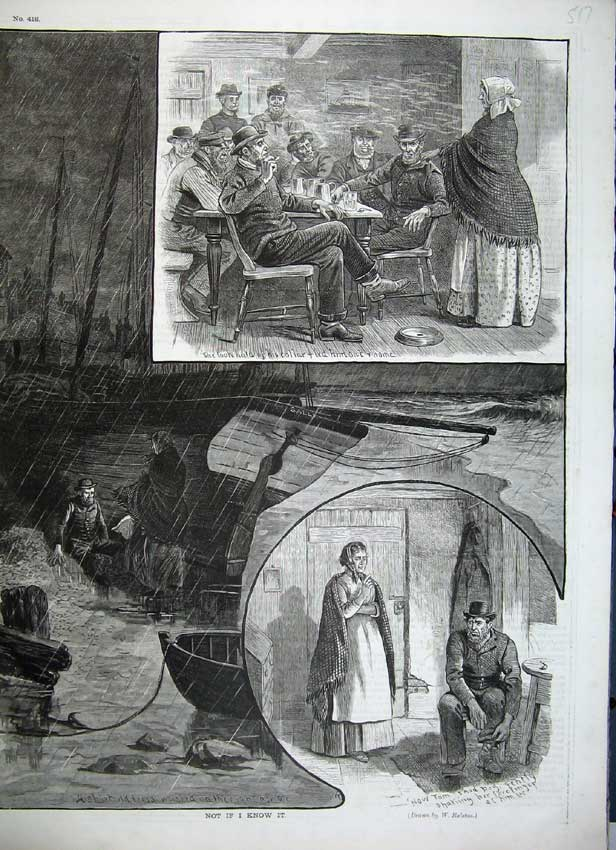Print Sailing Ship Raining Storm Men Smoking Drinking Ralston 517C217 Old Original