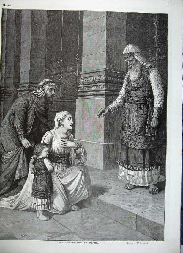 Print Holy Men Presentation Samuel Mother Child Gunston Art 522C217 Old Original