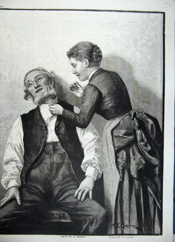 Print Fine Art Woman Sewing Man Shirt Lady Groome 534C217 Old Original