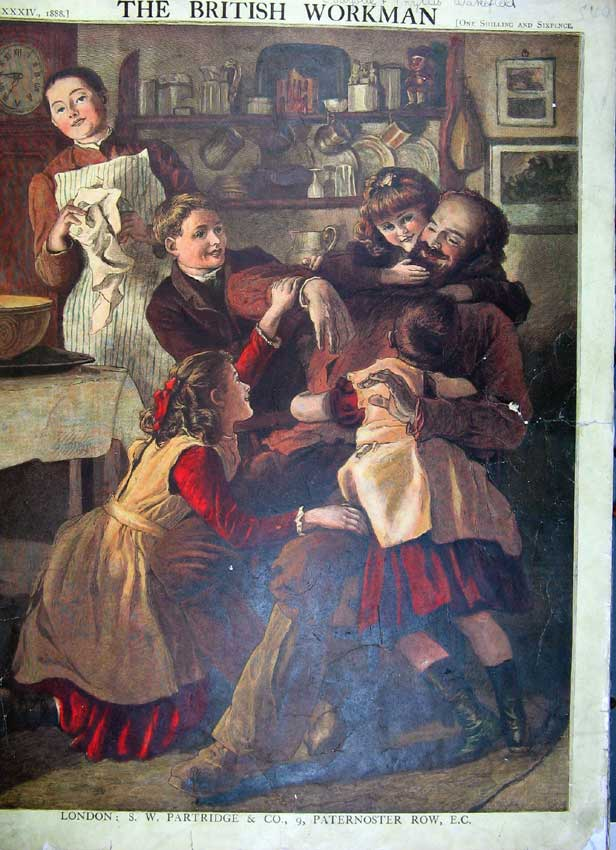 Print Mother Father Children Sailor Telescope Look-Out Art 540Rc217 Old Original