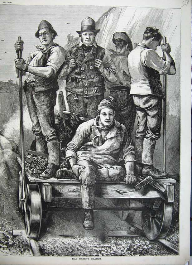 Print Bill Green Railway Trackmen Trolley Buckman Fine Art 551C217 Old Original