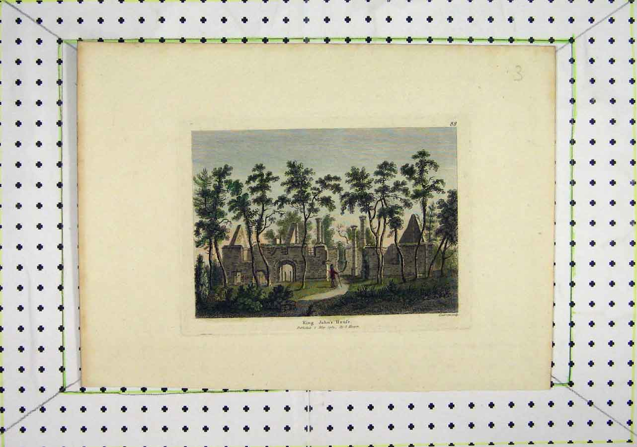 Print 1783 Colour King John'S House Ruins Country 417B200 Old Original