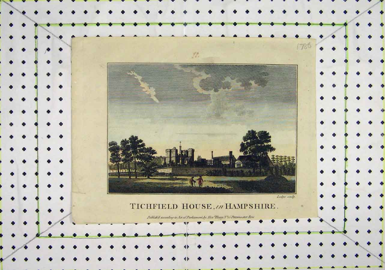 Print 1786 Colour Tichfield House Hampshire Lodge 419B200 Old Original