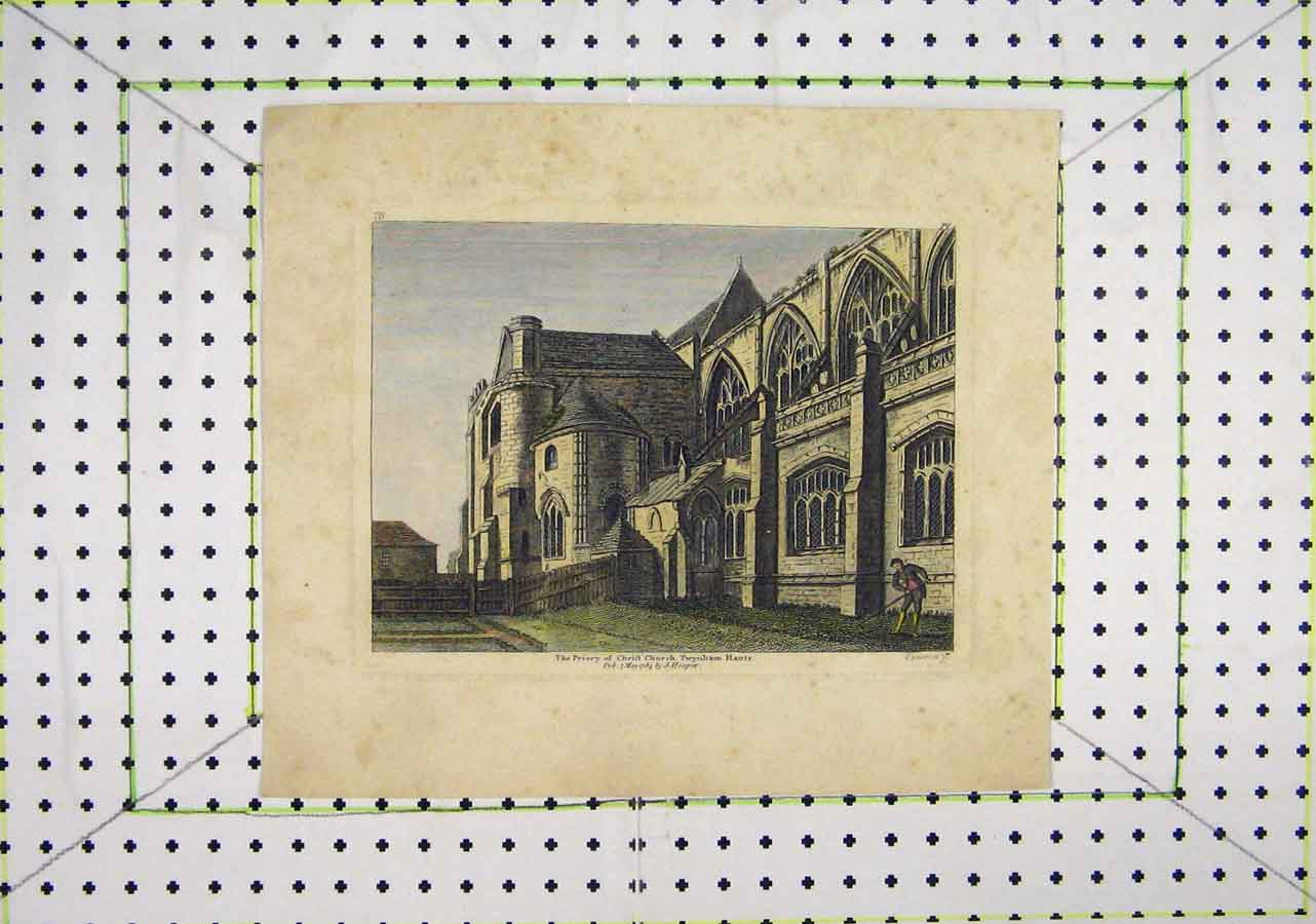 Print 1784 Colour Priory Christ Church Twynham Hants 426B200 Old Original