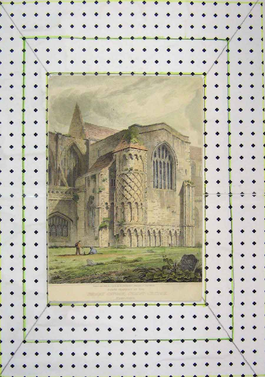 Print Colour North Transept Priory Christ-Church Hampshire 427B200 Old Original
