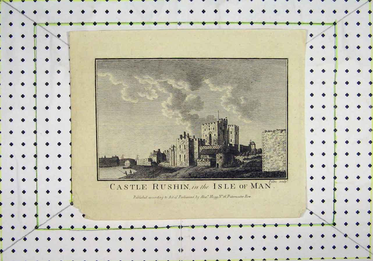 Print Castle Rushin Isle Man River Bridge 430B200 Old Original