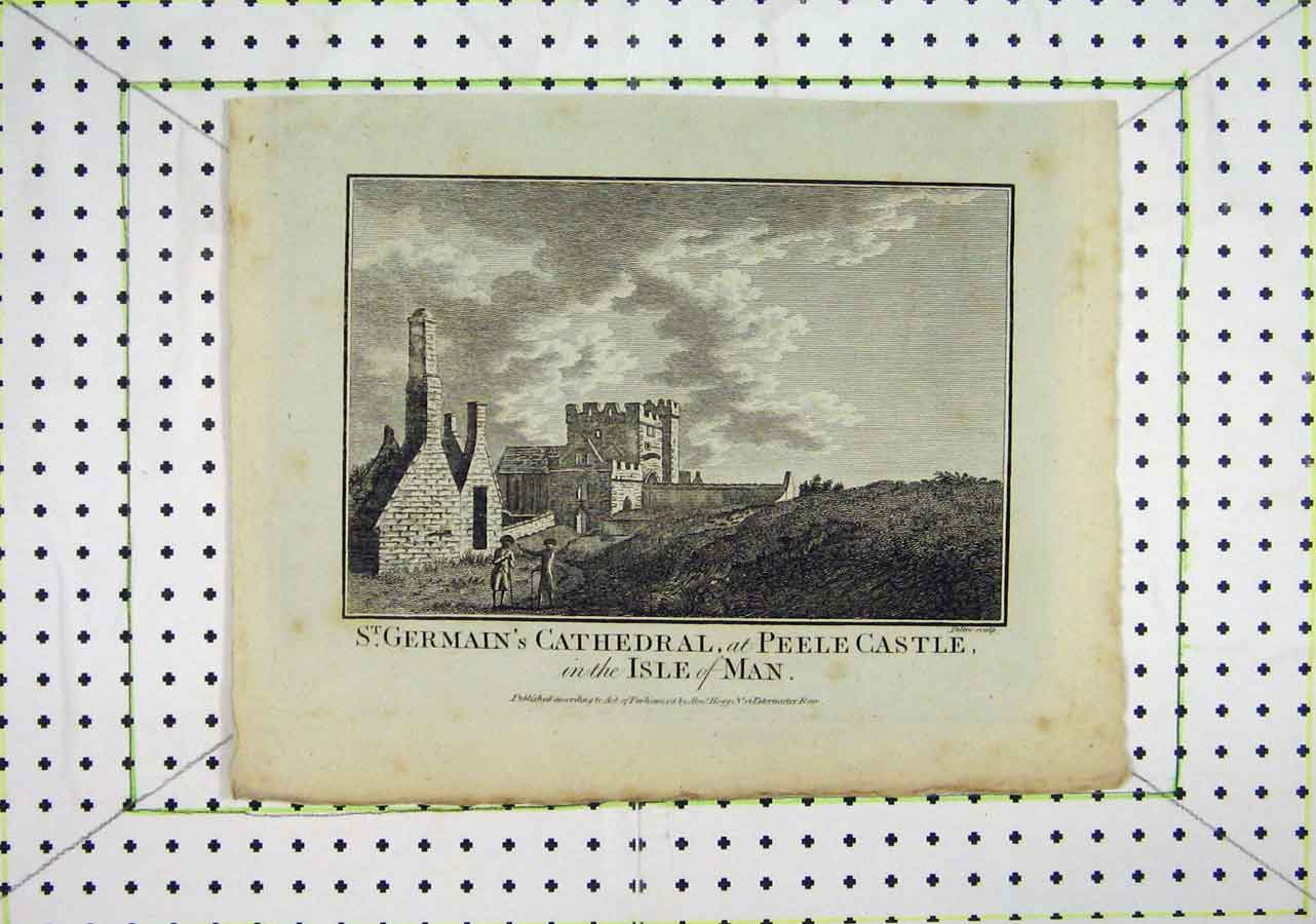Print St. Germain'S Cathedral Peele Castle Isle Man Peltro 440B200 Old Original