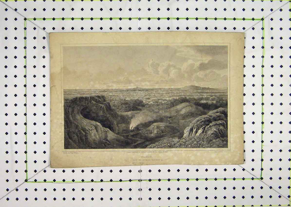 Print 1821 View Paris Butte Chaumont Lacey 609B201 Old Original