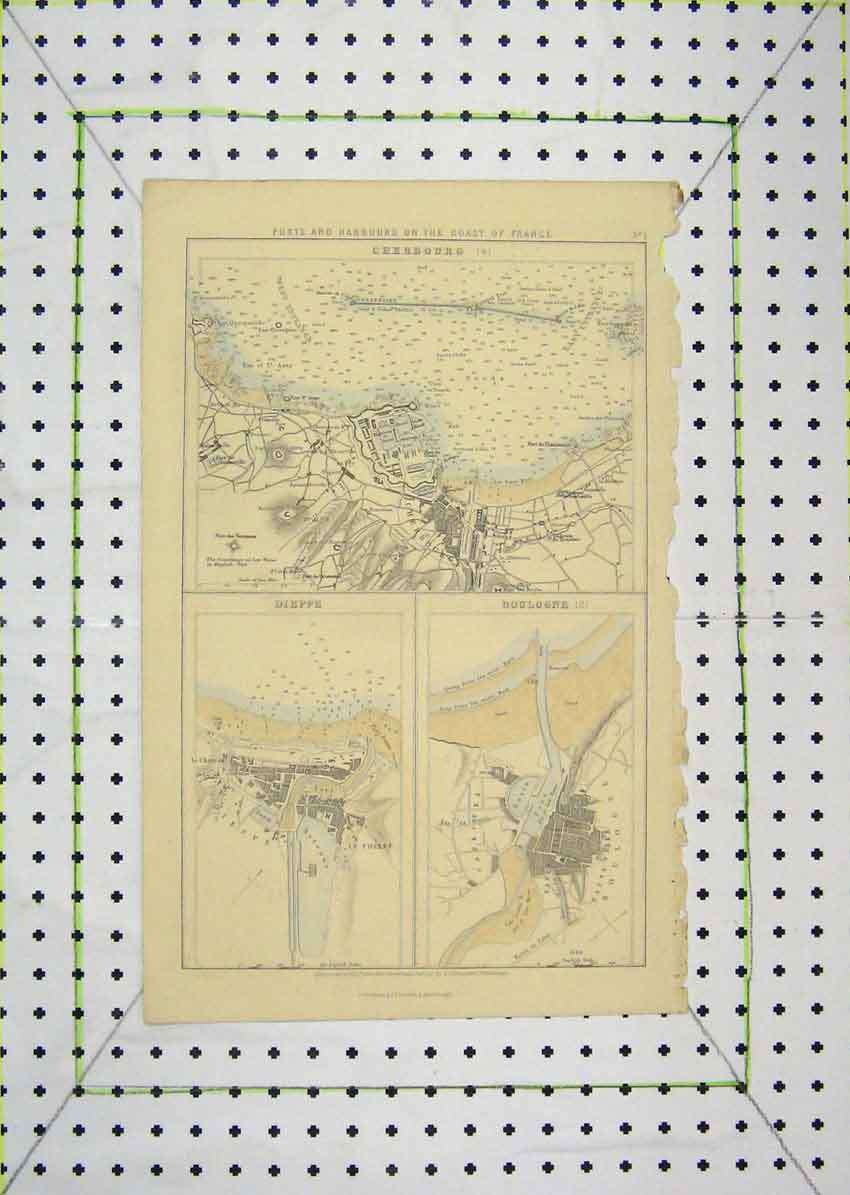 Print Map Ports Harbours France Cherbourg Dippe Boulogne 611B201 Old Original