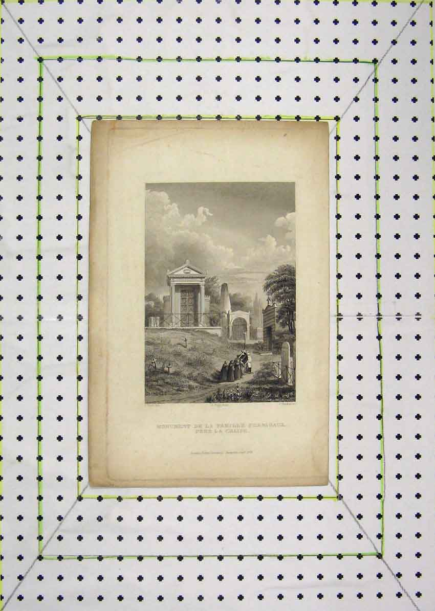 Print 1829 Monument Famille Perrigaux Pere La Chaise 618B201 Old Original