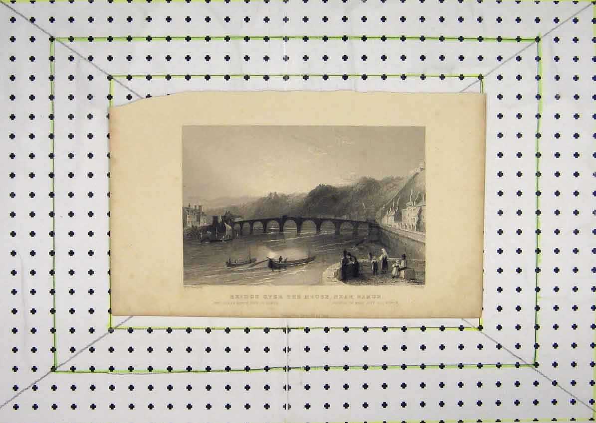 Print View Bridge River Meuse Near Namur Boats Grundy 620B201 Old Original