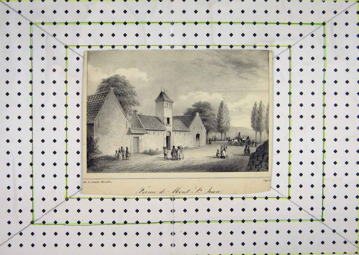 Print View Ferrne Mont St Jean Country Scene 625B201 Old Original