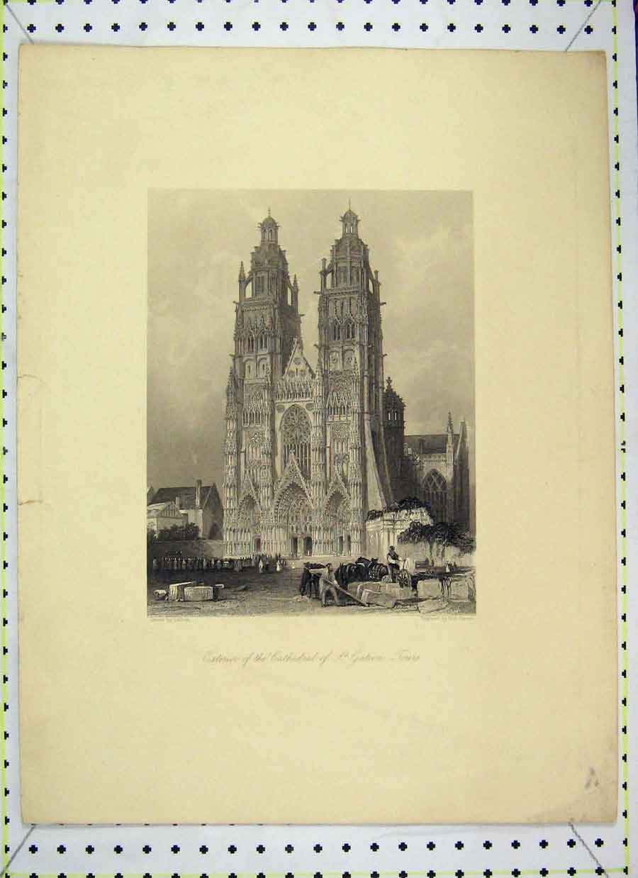 Print View Exterior Cathedral St Gatien Tours 106B202 Old Original