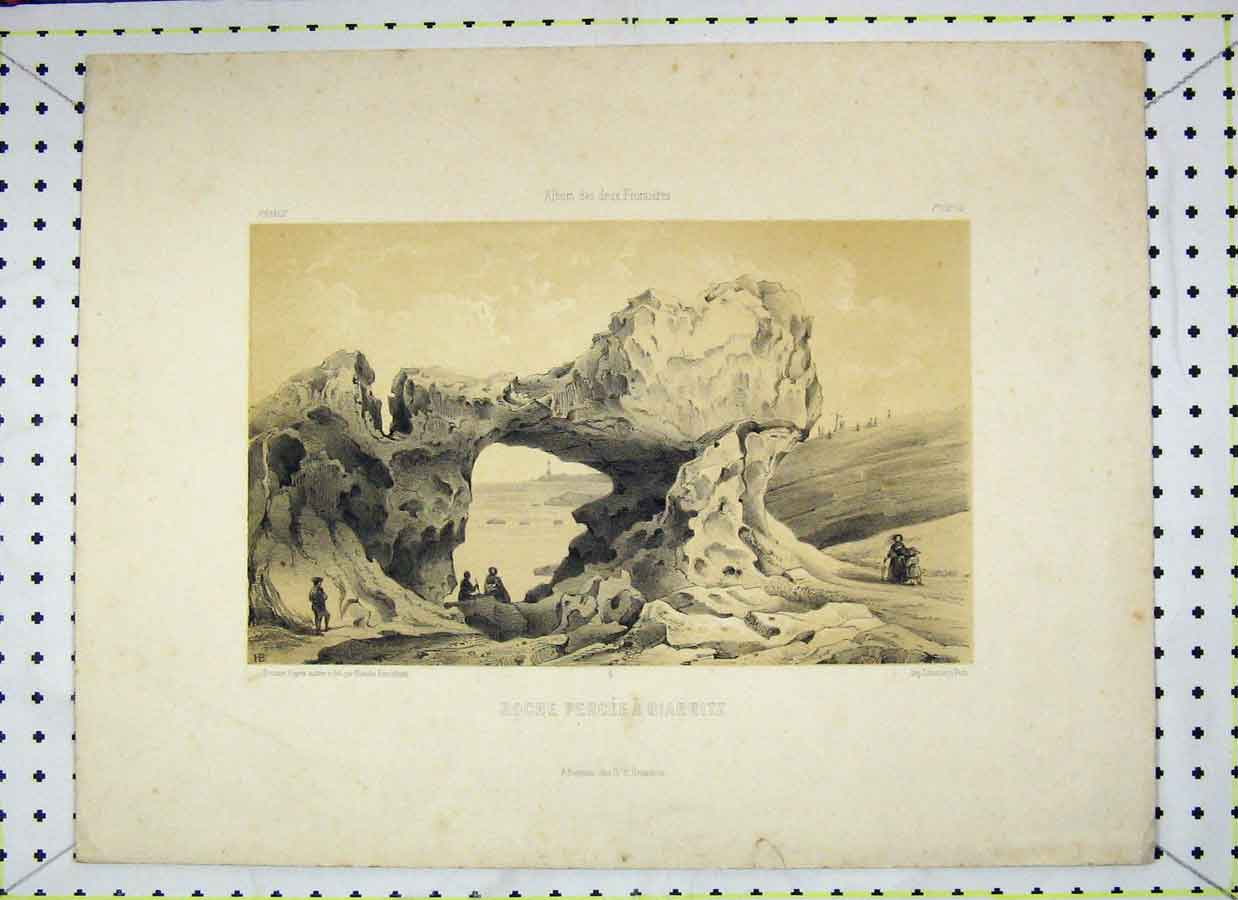 Print Roche Percee Biarritz Rocks France 110B202 Old Original