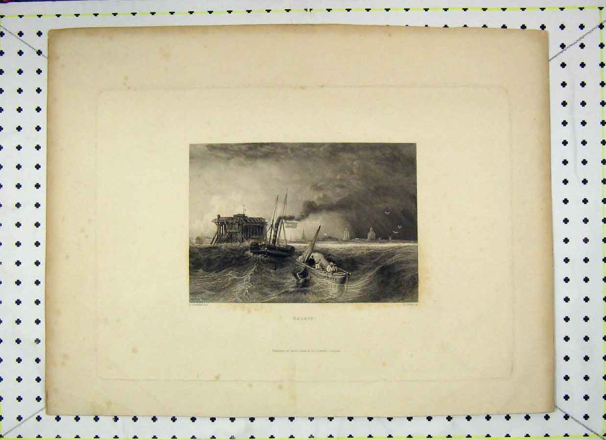 Print View Calais Stormy Sea Fishing Boat Engraving Finden 114B202 Old Original