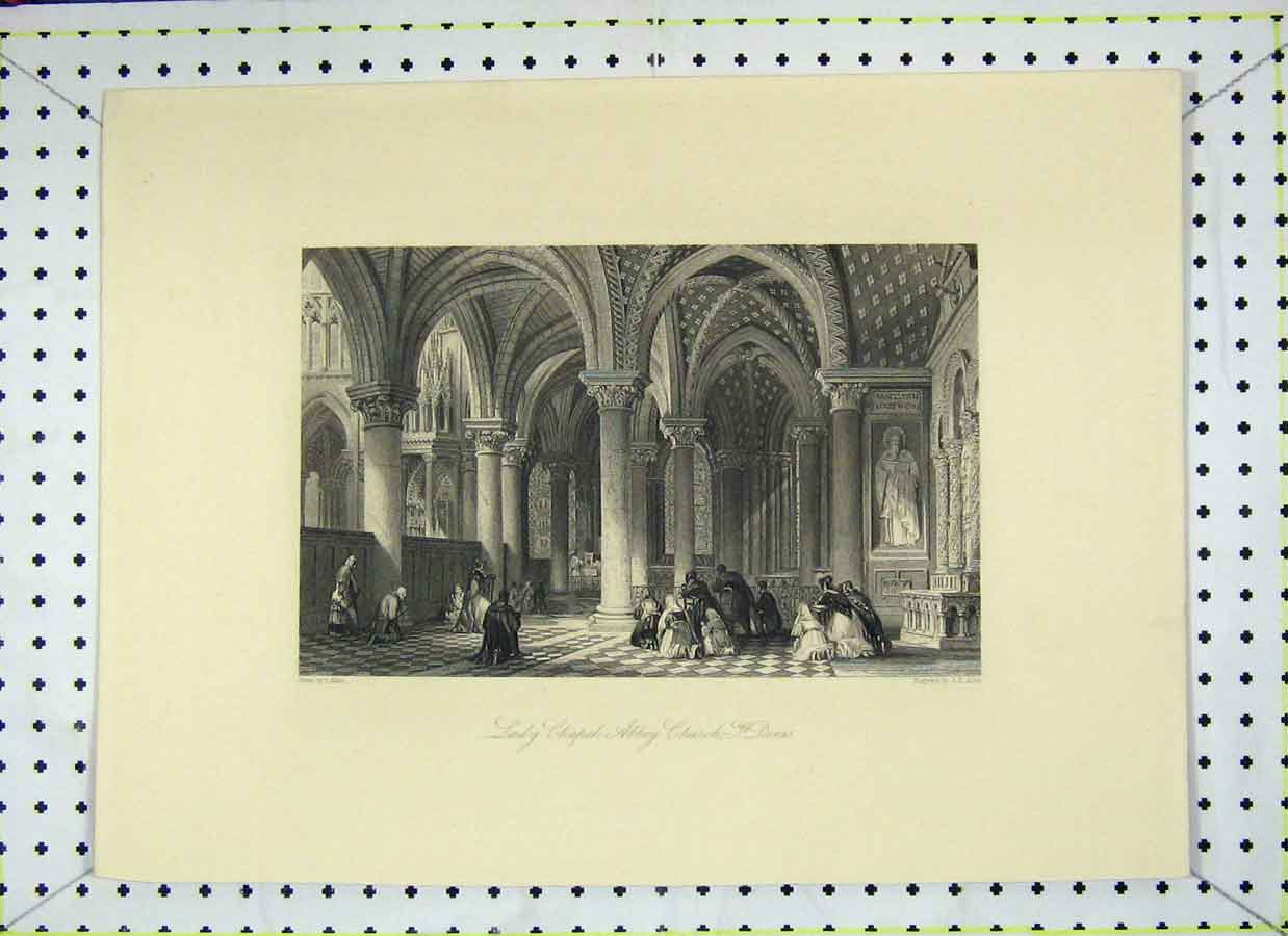 Print View Lady Chapel Abbey Church St. Dennis 121B202 Old Original