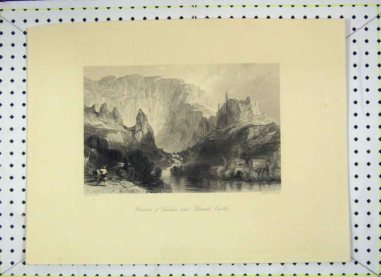 Print Mountain View Fountain Vaucluse Petrarch'S Castle 125Bb202 Old Original