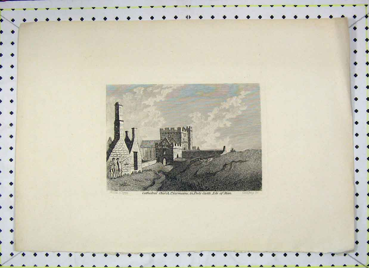 Print Cathedral Church St Germains Peele Castle Isle Man 1775 128B202 Old Original