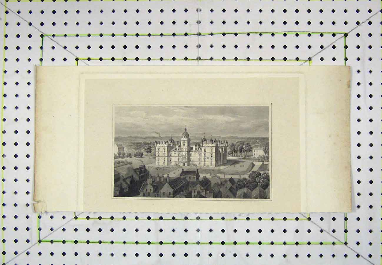 Print View Large Castle Country Scene Garden 524B203 Old Original