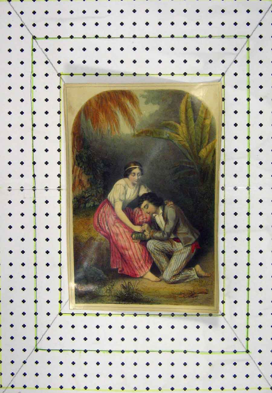Print Man Woman Romance Colour Forest Scene 526B203 Old Original
