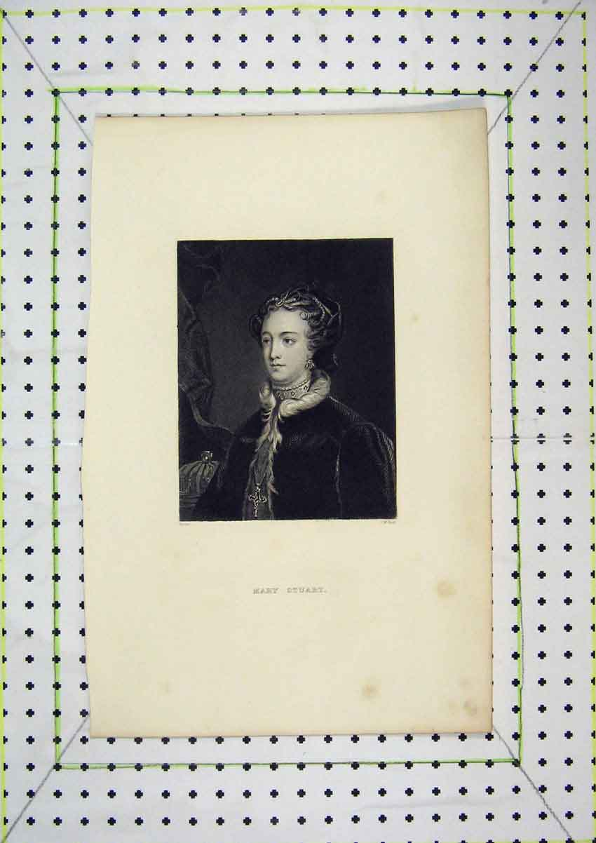 Print Portrait Queen Mary Engraving Hunt 205B204 Old Original
