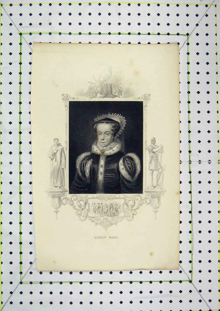 Print Portrait Queen Mary Scene Jane Grey Excecution 206B204 Old Original