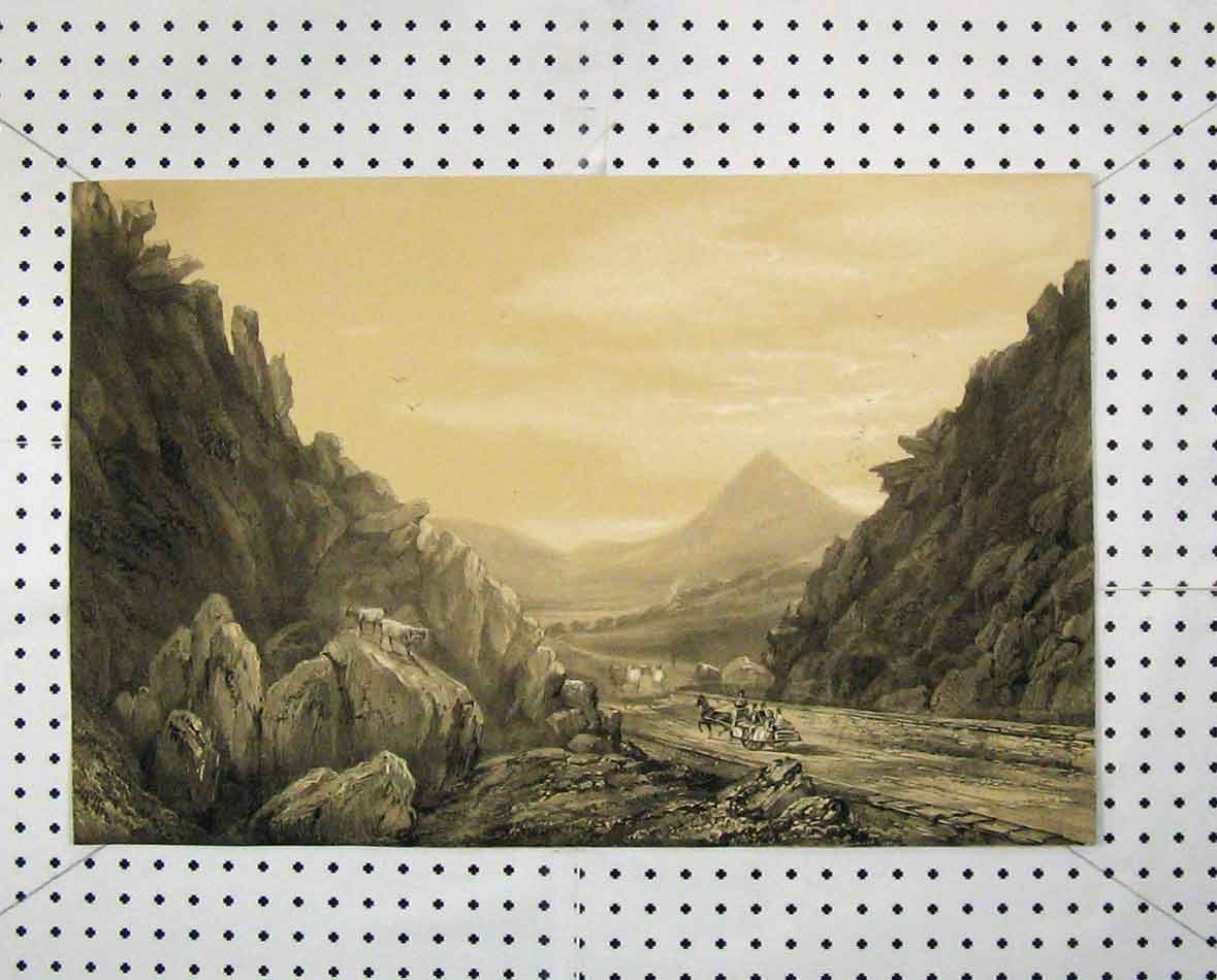 Print View Country Road Mountain Scene Rocks 245B205 Old Original