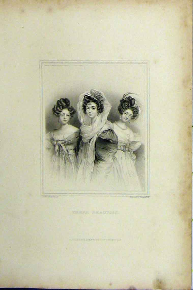 Print C1850 Steel Engraving Three Beautiful Women Francis 101B206 Old Original