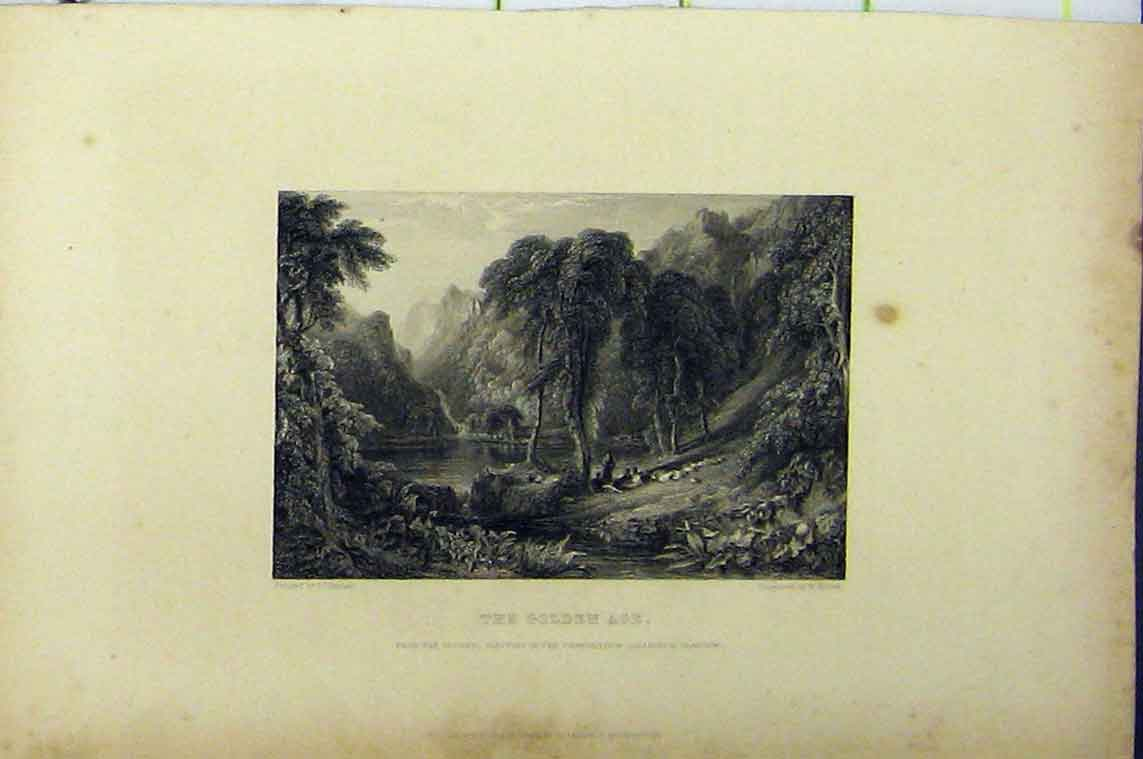 Print C1850 Golden Age Engraving Country River Scene 105B206 Old Original