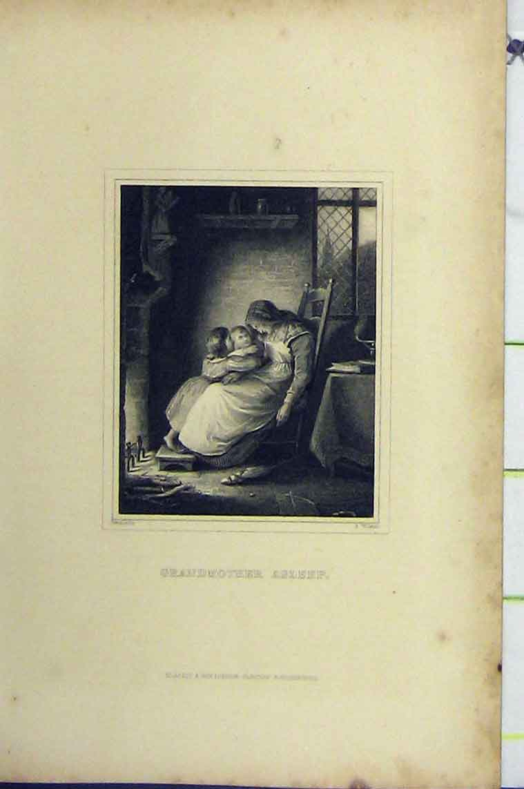 Print C1850 Steel Engraving Granmother Sleep Chair Children 106B206 Old Original