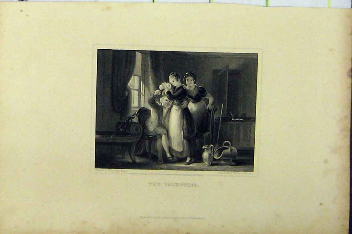 Print Steel Engraving Man Valentine Card Women C1850 Johnston 111B206 Old Original