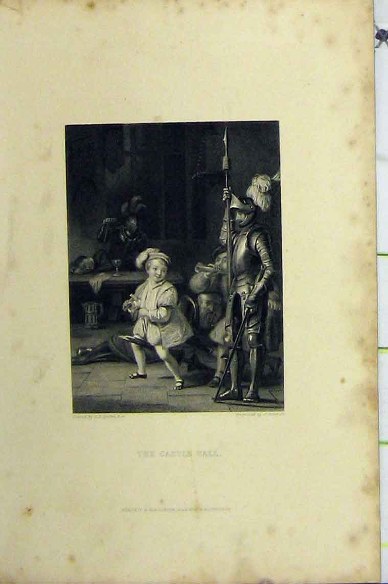 Print C1850 Steel Engraving Scene Castle Hall Knights Boy 113B206 Old Original