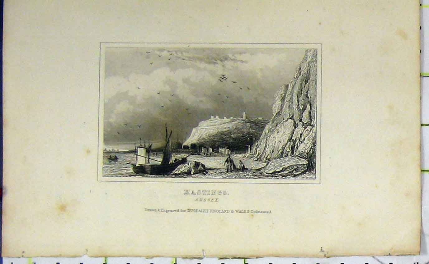 Print Dugdales View Hastings Sussex Boat Cliffs C1850 811B207 Old Original