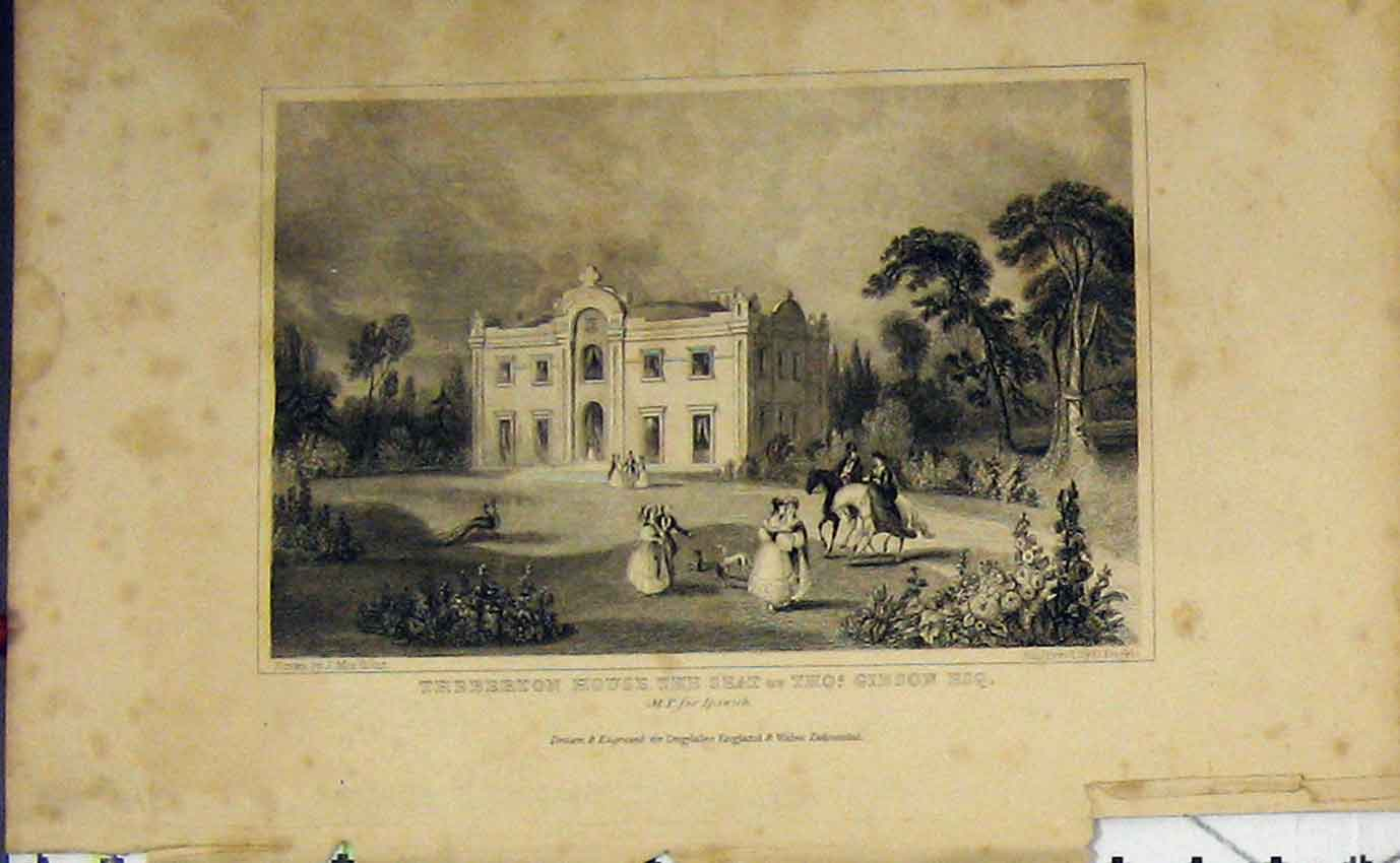 Print C1850 Theberton House Home Gibson M. P Ipswich Dugdales 902B207 Old Original