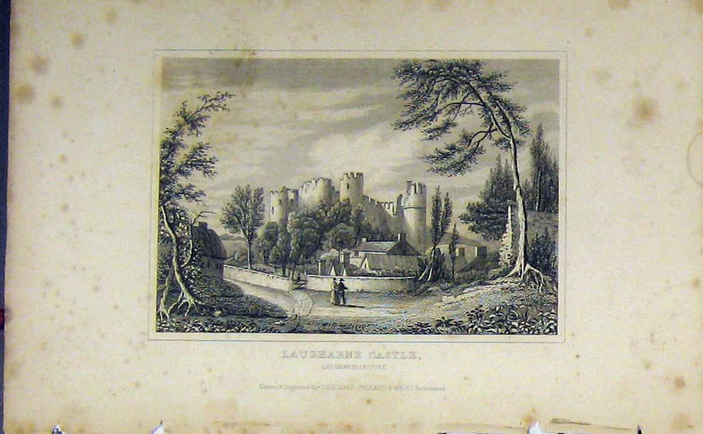 Print View Laugharne Castle Caermarthenshire C1850 Dugdales 904B207 Old Original