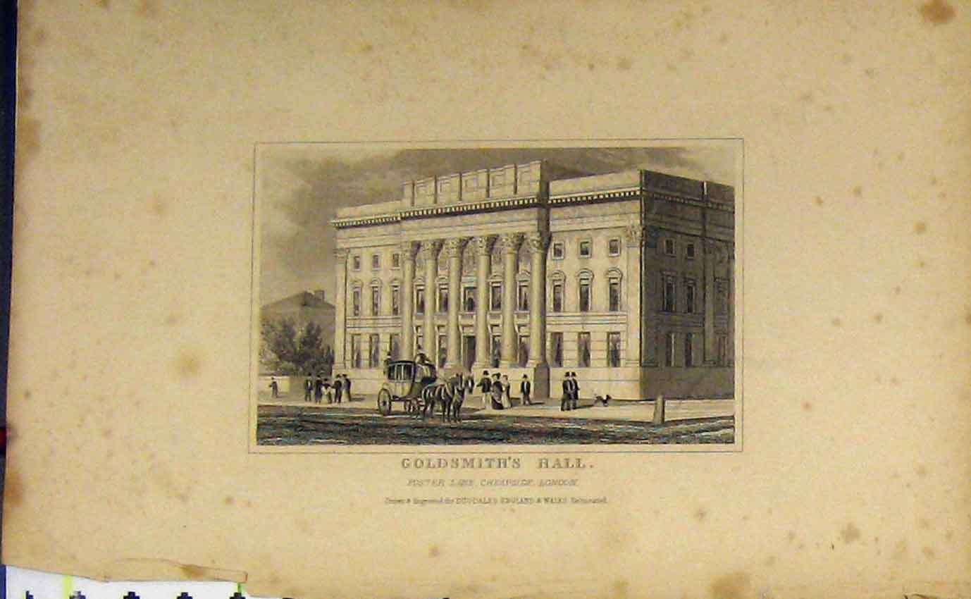 Print View Goldsmith'S Hall Foster Lane London C1850 Dugdales 906B207 Old Original