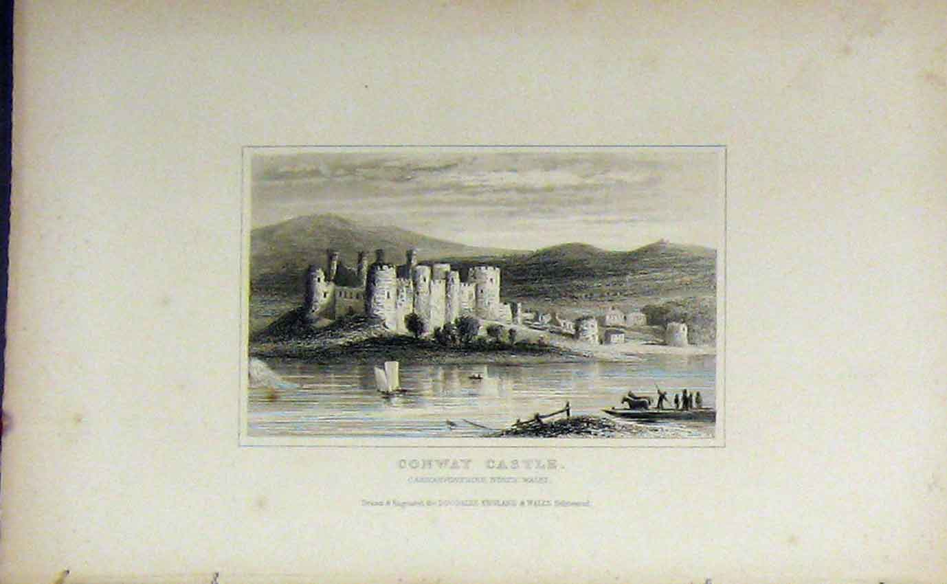 Print C1850 View Conway Castle Carnarvonshire Dugdales Wales 914B207 Old Original