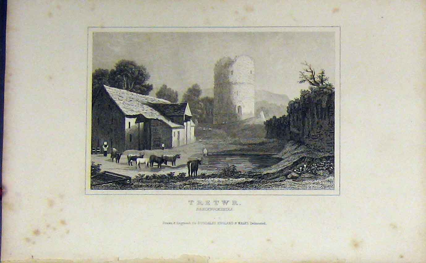 Print C1850 Country View Tretwr Brecknockshire Dugdales 917B207 Old Original