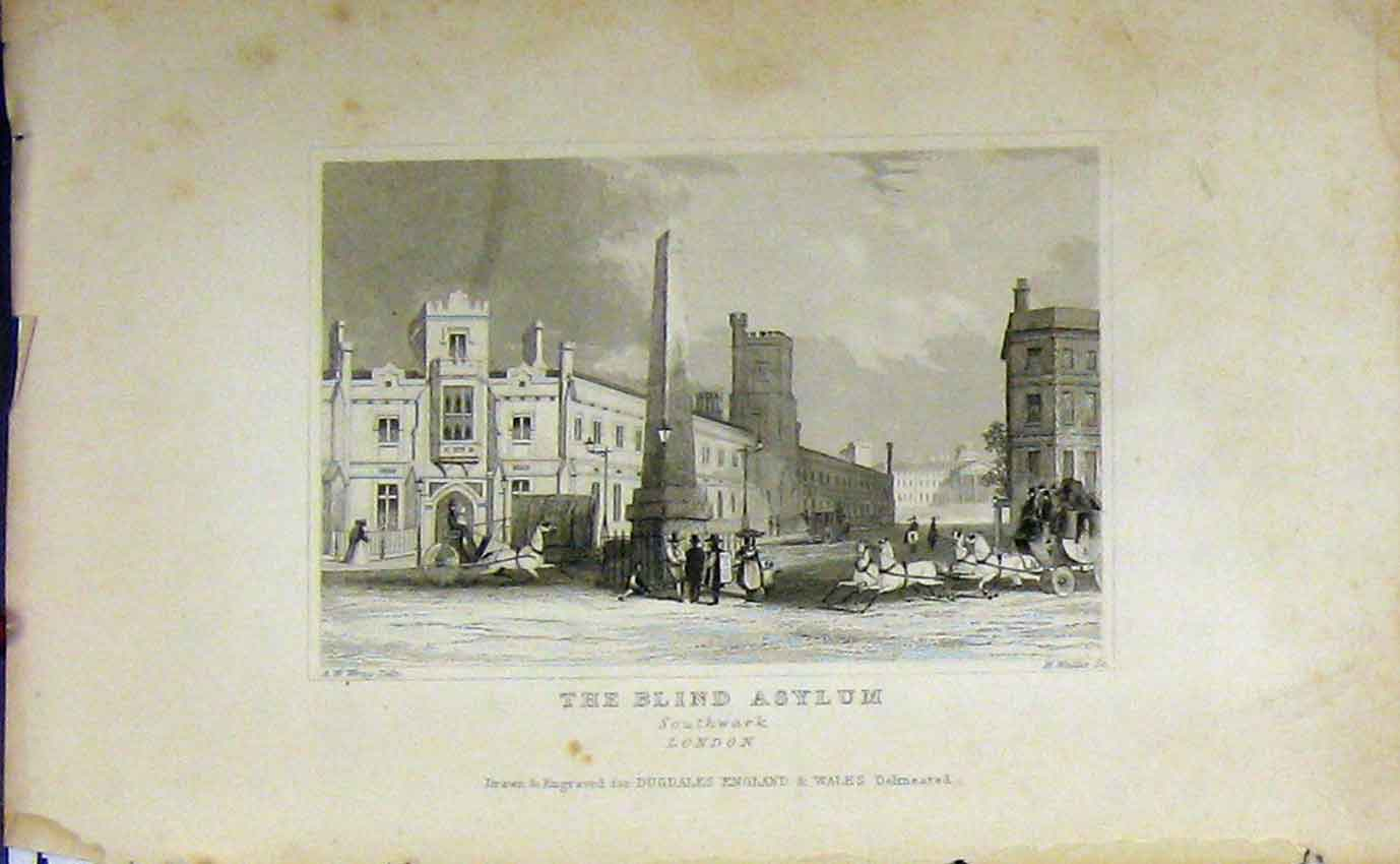 Print C1850 View Blind Asylum Southwark London Dugdales 923B207 Old Original