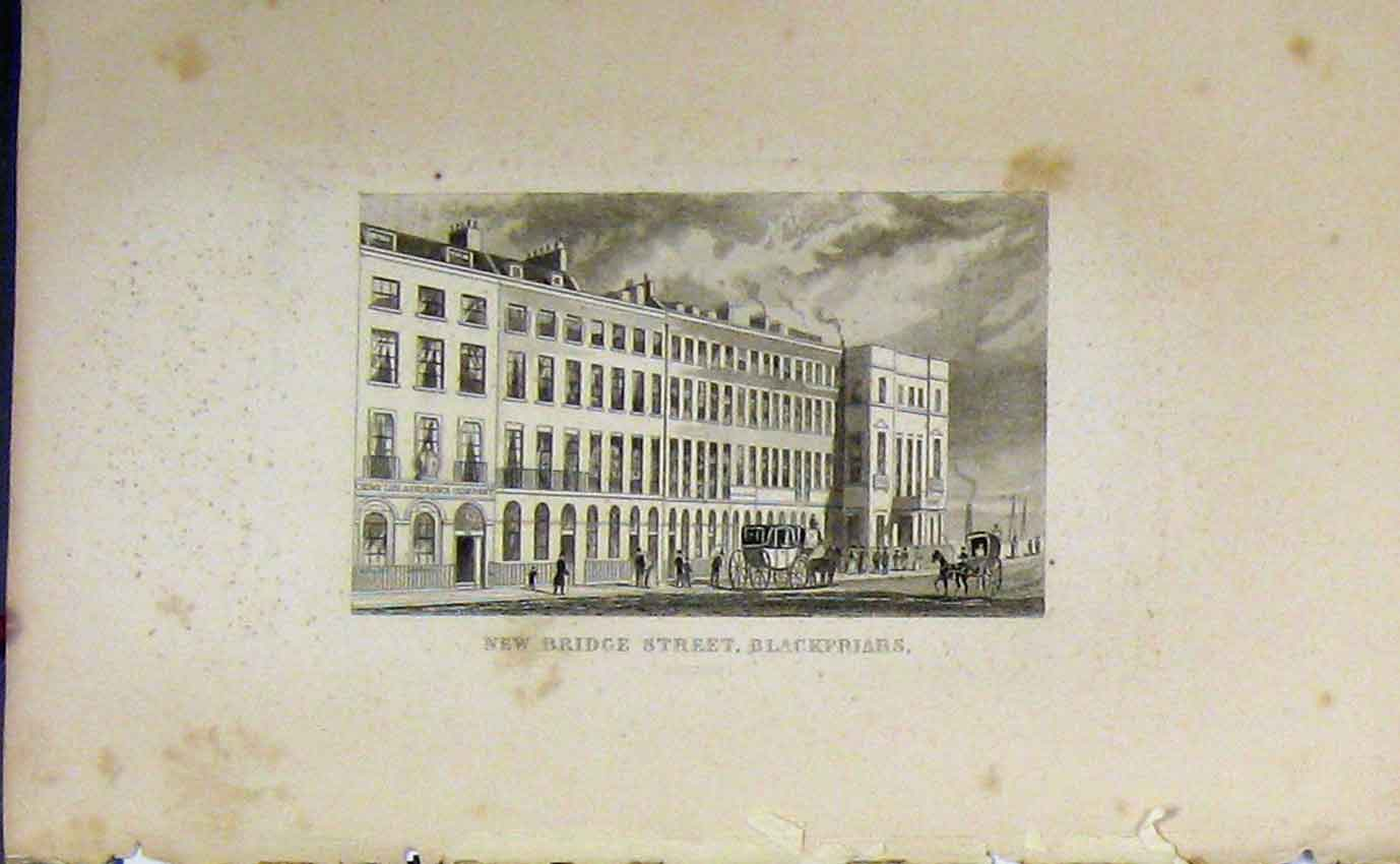 Print C1850 View New Bridge Street Blackfriars London 927B207 Old Original