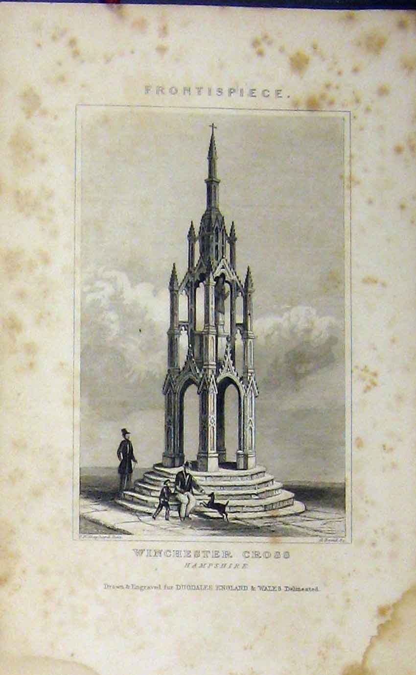 Print C1850 View Winchester Cross Hampshire Dugdales 932B207 Old Original