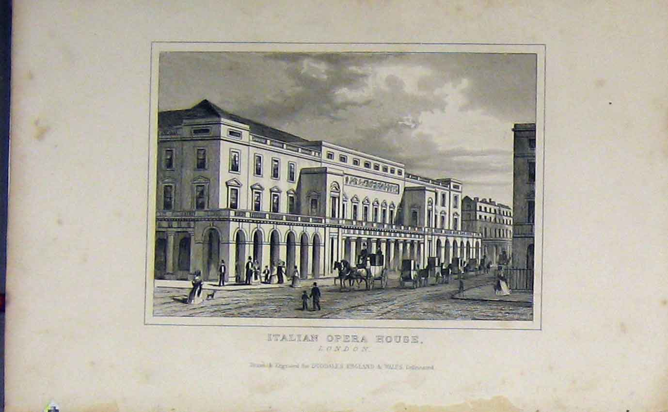 Print C1850 View Italian Opera House London Street Dugdales 937B207 Old Original