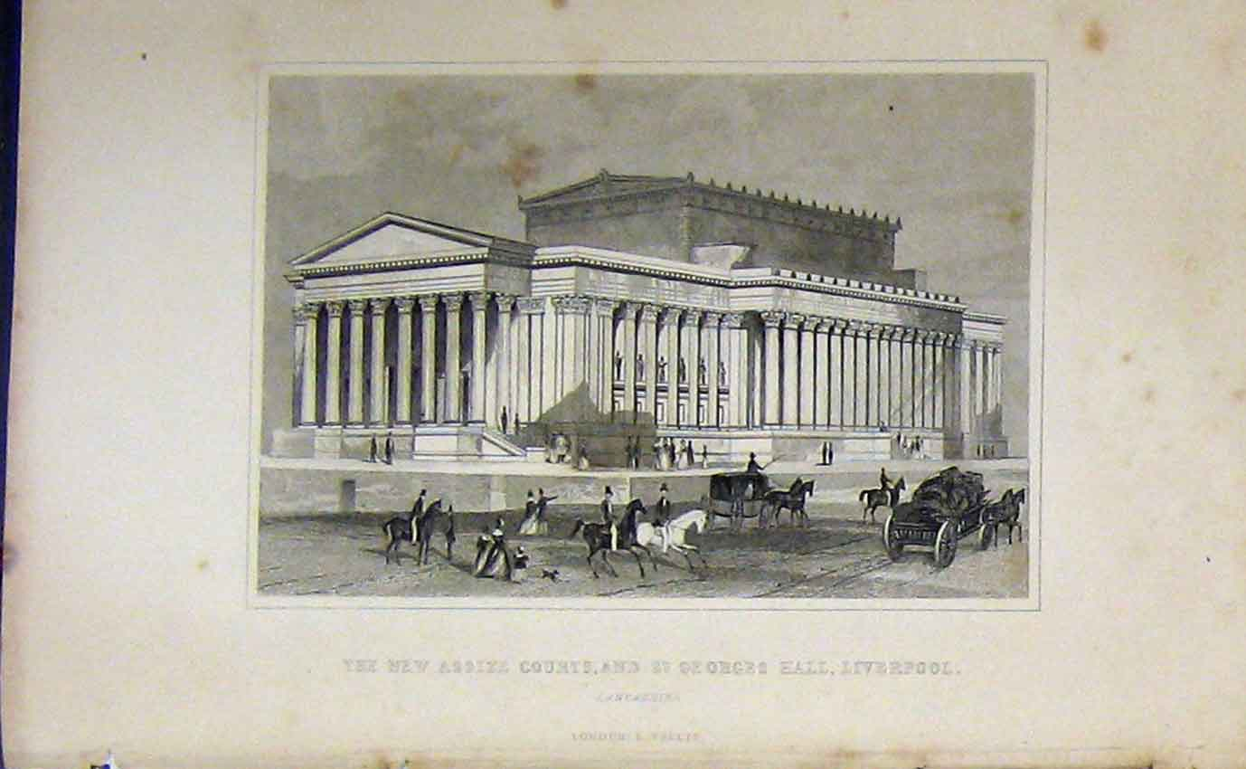 Print C1850 Assize Courts St Georges Hall Liverpool Dugdales 941B207 Old Original
