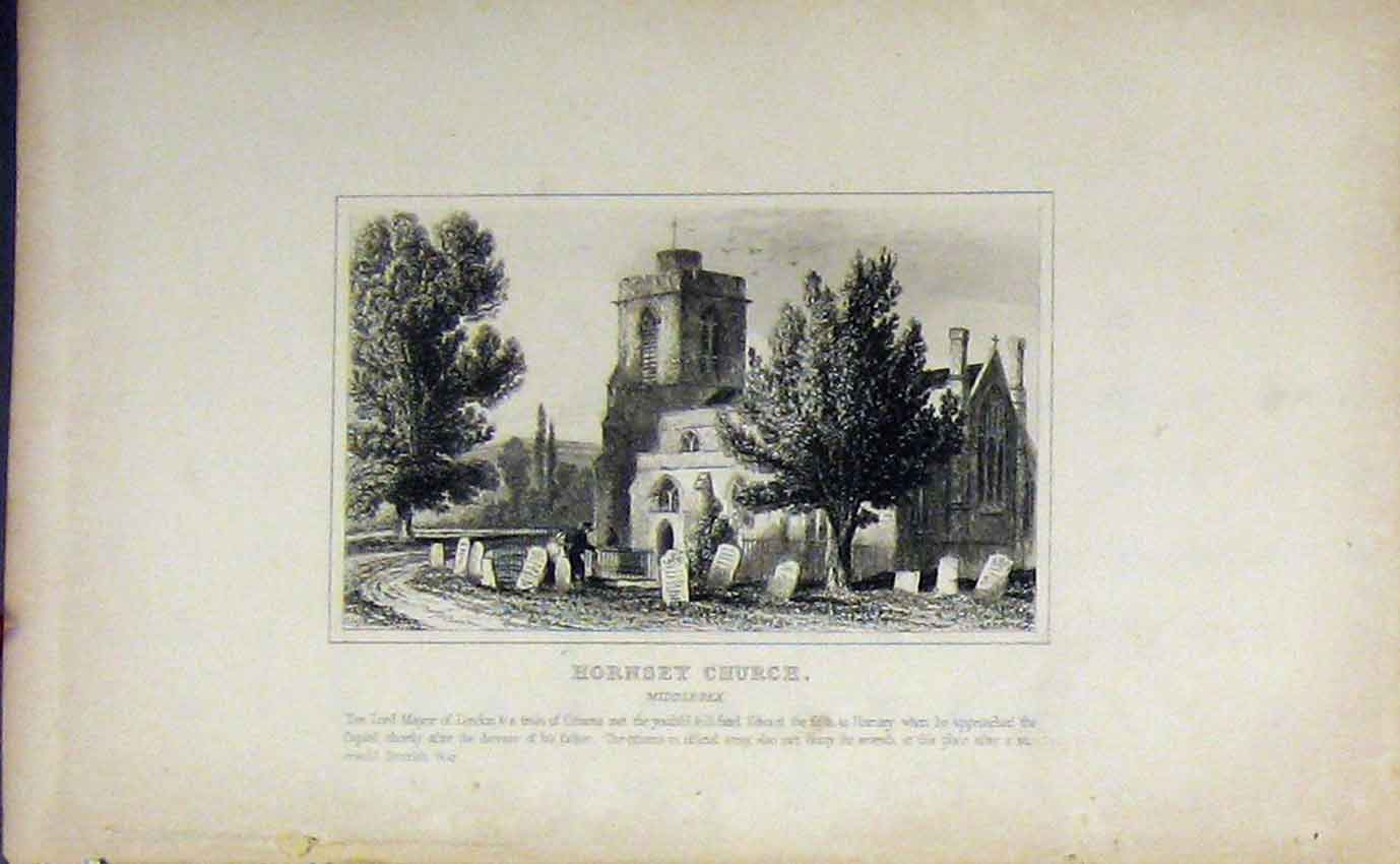 Print C1850 View Hornsey Church Middlesex Dugdales England 952B207 Old Original