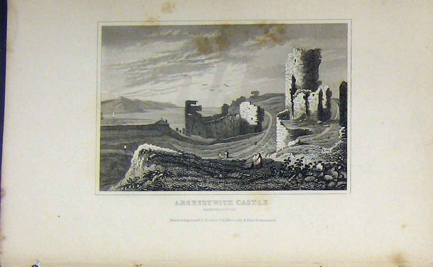 Print C1850 View Aberystwith Castle Cardiganshire Dugdales 958B207 Old Original